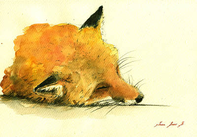 Sleeping Fox Print by Juan  Bosco