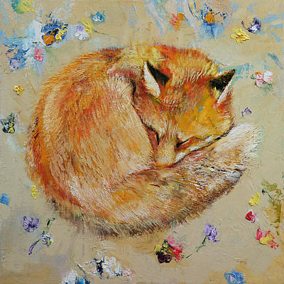 Foxes Painting - Sleeping Fox by Michael Creese