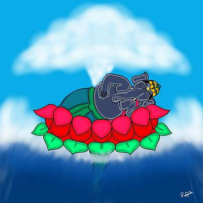 Digital Art - Sleeping Ganesha by Pratyasha Nithin