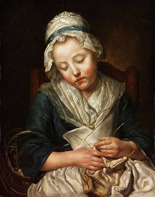 Basket Photograph - Sleeping Girl by Jean-Baptiste Greuze