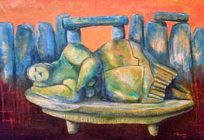 Henge Painting - Sleeping Godess by Carmel Theuma
