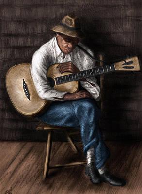 Live Music Drawing - Sleeping Guitarist by Karl Fritz
