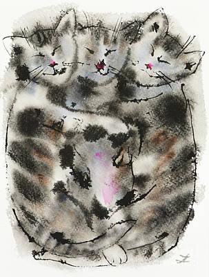 Painting - Sleeping Kittens by Zaira Dzhaubaeva