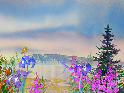 Painting - Sleeping Lady With Iris And Fireweed by Teresa Ascone
