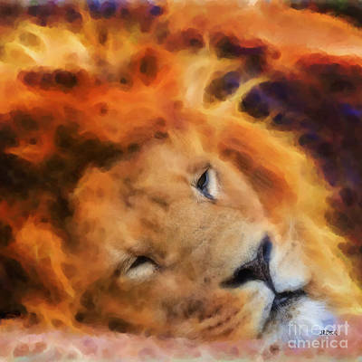 Digital Art - Sleeping Lion - Square Version by John Beck