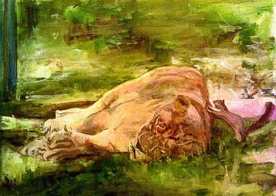 Painting - Sleeping Lionness Pushy Squirrel by Rosanne Gartner