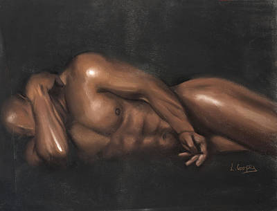 Study Pastel - Sleeping Nude by L Cooper