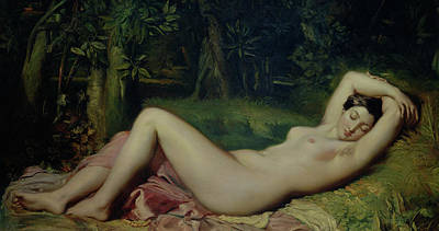 Nymphs Painting - Sleeping Nymph by Theodore Chasseriau