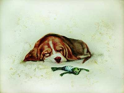 Drawing - Sleeping Puppy And Sleeping Froggy by Elena Vedernikova
