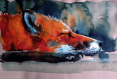 Red Fox Painting - Sleeping Red Fox by Kovacs Anna Brigitta
