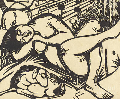 Shepherdess Painting - Sleeping Shepherdess by Franz Marc