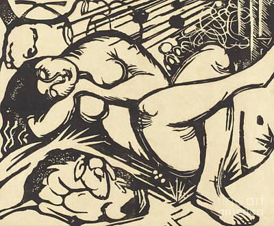 Crossed Legged Painting - Sleeping Shepherdess by Franz Marc