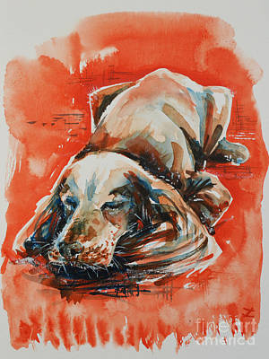 Painting - Sleeping Spaniel On The Red Carpet by Zaira Dzhaubaeva