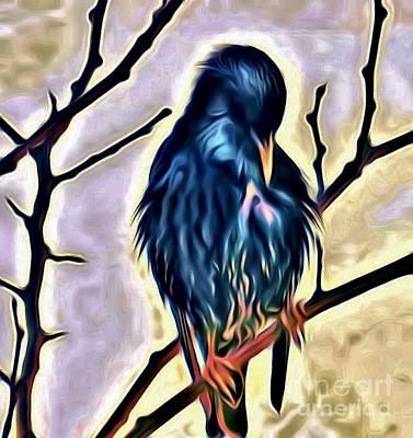 Starlings Digital Art - Digital Painting 5 Bird by JudithAnne Monahan