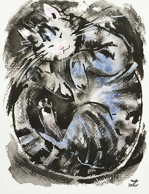 Painting - Sleeping Tabby Cat by Zaira Dzhaubaeva