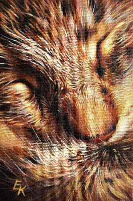 Painting - Sleeping Tabby by Elena Kolotusha
