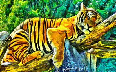 Lion Digital Art - Sleeping Tiger - Da by Leonardo Digenio