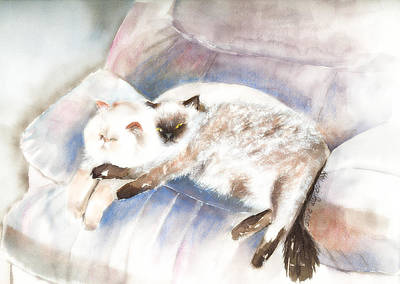 Watercolor Painting - Sleeping Together by Arline Wagner
