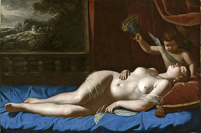 Sleeping Cupid Painting - Sleeping Venus by Artemisia Gentileschi