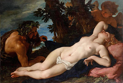 Sleeping Cupid Painting - Sleeping Venus Unveiled By A Satyr by Daniel Seiter