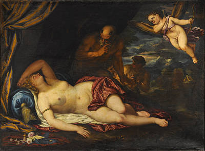 Sleeping Cupid Painting - Sleeping Venus With Cupid And A Satyr A Landscape Beyond by Valentin Lefevre