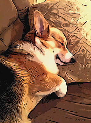 Sleeping Dog Digital Art - Banjo The Sleeping Welsh Corgi by Kathy Kelly