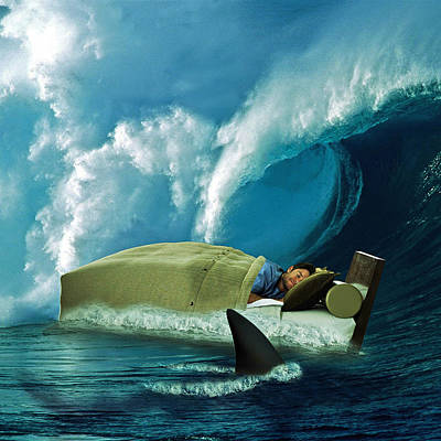 Surrealistic Digital Art - Sleeping With Sharks by Marian Voicu