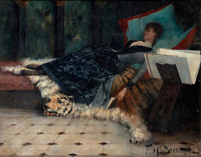 Chaise Longue Painting - Sleeping Woman With A Book by Ferdinand Bredt