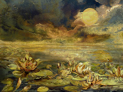 Lilies Mixed Media - Sleepless Water Lily by Anne Weirich