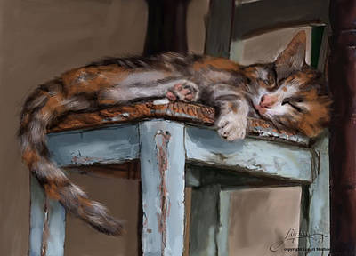 Painting - Sleepting Cat by Thomas Lupari