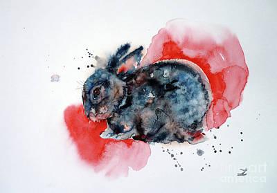 Painting - Sleepy Bunny by Zaira Dzhaubaeva