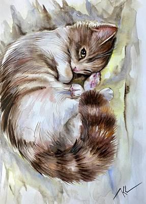 Painting - Sleepy Cat 2 by Katerina Kovatcheva
