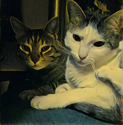 Digital Art - Sleepy Cats by Unhinged Artistry