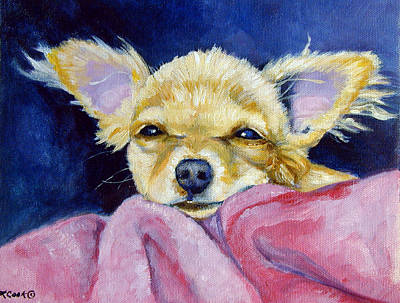 Chihuahua Portraits Painting - Sleepy Chi - Chihuahua by Lyn Cook