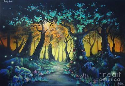 Mystical Landscape Painting - Sleepy Grove  by Zach Kintner