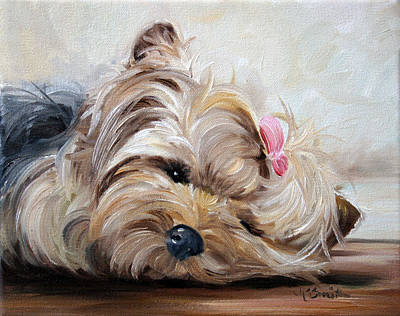 Yorkshire Terrier Wall Art - Painting - Sleepy Head by Mary Sparrow