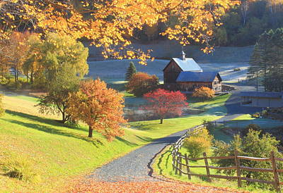 Photograph - Sleepy Hollow Farm Vermont Autumn Morning by John Burk