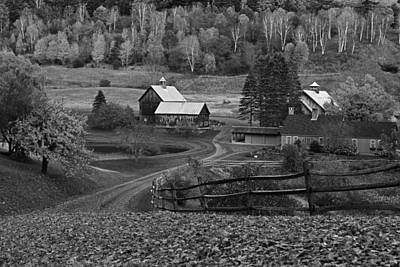 Photograph - Sleepy Hollows Farm Woodstock Vermont Vt Autumn Black And White by Toby McGuire