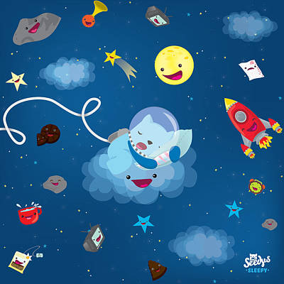 Sleepy In Space Art Print by Seedys