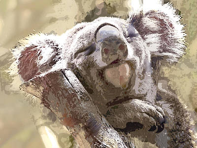 Koala Painting - Sleepy Koala Bear In Eucalyptus by Elaine Plesser