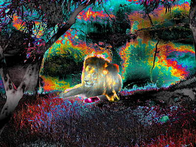 Sleepy Lion In A Surreal Fantasy Landscape Art Print by Abstract Angel Artist Stephen K