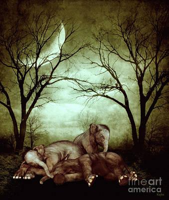 Little Girl Mixed Media - Sleepy Little Elephants by KaFra Art