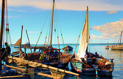 Photograph - Sleepy Sail Boats Zanzibar by Amyn Nasser