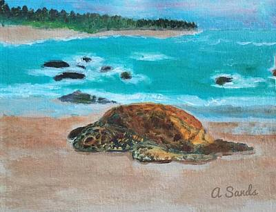 Painting - Sleepy Sea Turtle by Anne Sands