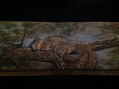 Mixed Media - Sleepy Squirrel by Barbara Prestridge