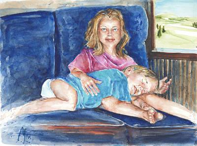 Art Print featuring the painting Sleepy Train by Arthur Fix