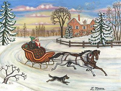 Landscape Art Painting - Sleigh Ride In The Country by Linda Mears