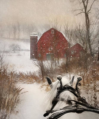 Barn Digital Art - Sleigh Ride by Lori Deiter