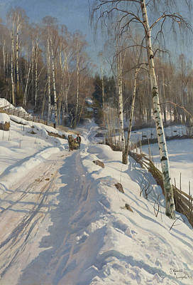 Painting - Sleigh Ride On A Sunny Winter Day by Peder Monsted