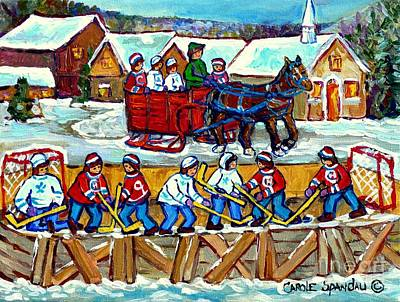Pond Hockey Painting - Sleigh Ride To The Hockey Rink Canadian Village Landscape Painting Quebec Winter Scene Art C Spandau by Carole Spandau